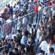 Samb-Napoli: tifosi napoletani festeggiano il gol del pareggio al termine della partita
