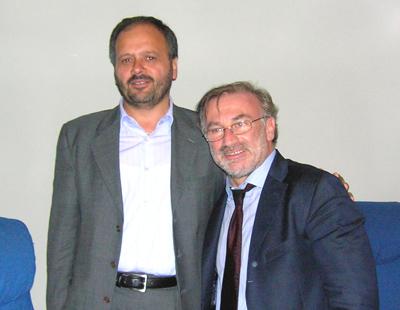 Da sinistra Giovanni Gaspari e il segretario nazionale di Rifondazione Comunista Franco Giordano