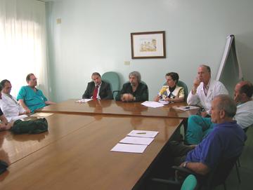 Da sinistra De Signoribus, Carta, Anconetani (direttore di presidio), Belligoni, la dott.ssa Picciotti (direttore del distretto), Vespasiani, Novelli, e l'addetto stampa Lucadei