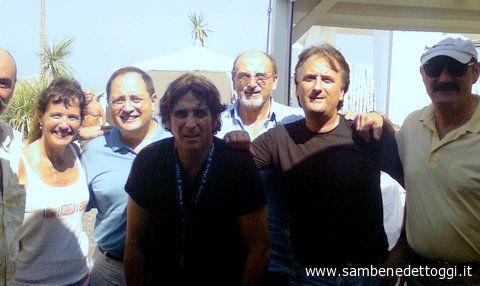 Da sinistra: Pino Parmegiani, Katie e Gainni Vitali, Sandro Assenti, Nazzreno Perotti, Marco Assenti, Ettore Parmegiani