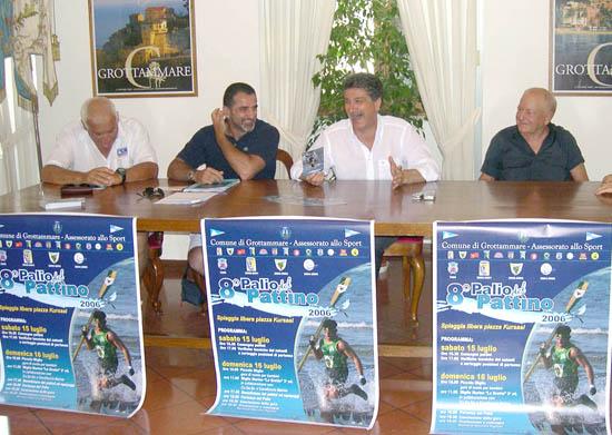 Franco Bruni, Natale Santori, Luigi Merli ed Antonio Capretti alla conferenza di presentazione dell'VIII edizione del Palio del Pattino