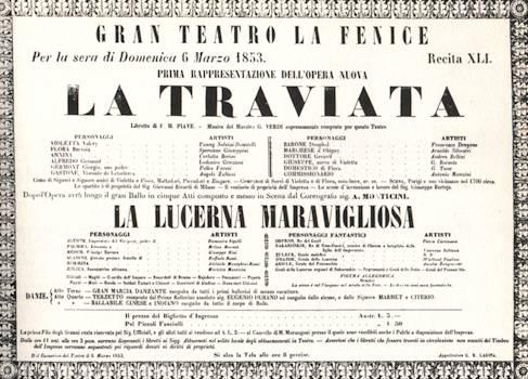 Il manifesto pubblicitario della prima rappresentazione della Traviata, nel 1853