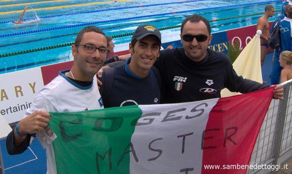 Budapest 2006. Filippo Magnini insieme a Vincenzo Nanni e Max Piunti