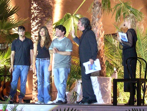 Lillo, Greg e Virginia Raffaele sul palco con Cesario e Nanni