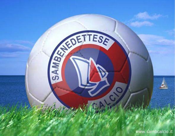 Il pallone con la Lancetta visibile sul nuovo sito ufficiale della Samb Calcio
