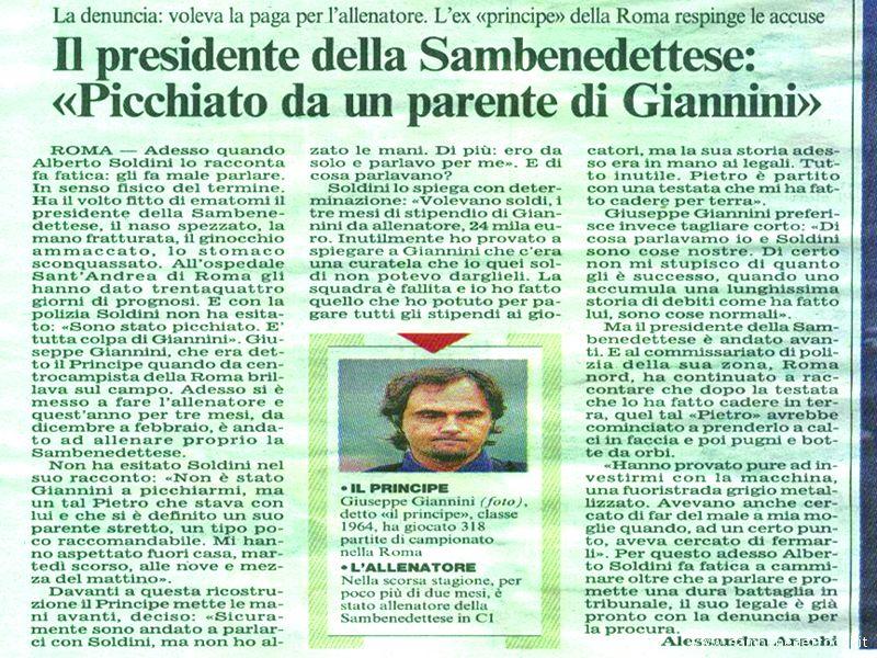L\'articolo del Corriere della Sera del 21 ottobre in cui si parla dell\'aggressione subita dall\'ex presidente della Samb Alberto Soldini