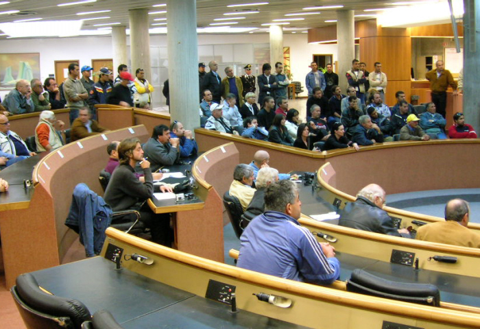 I marittimi sambenedettesi durante la conferenza stampa in Comune