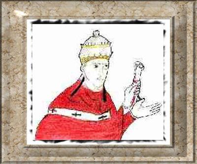 Una riproduzione d'epoca di Papa Alessandro III