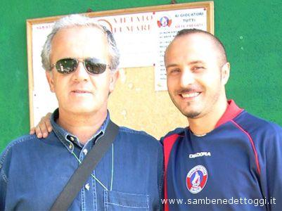 Gianni Carbone e il tecnico della Samb Berretti Alessandro Alesiani