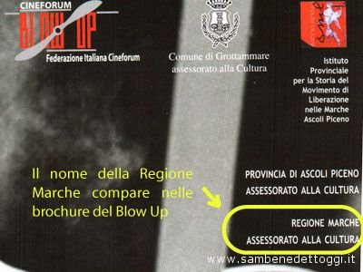 Nell'immagine mostriamo il nome della Regione Marche nella brochure del