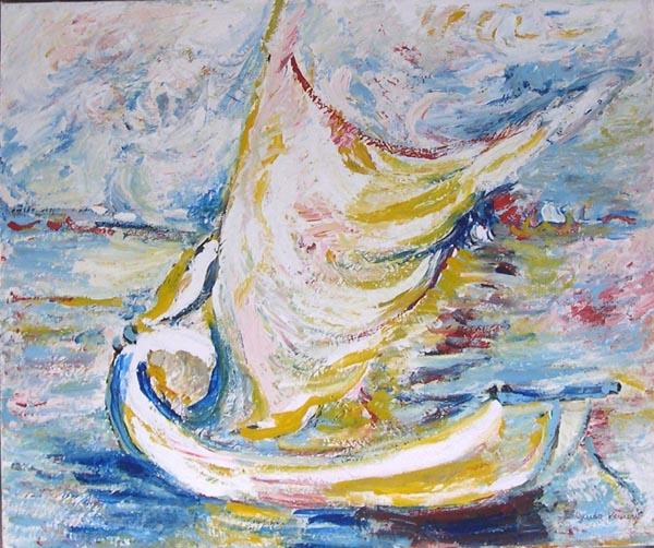 Barca detta la paranza,opera selezionata ed ammessa al II Concorso Nazionale dei Pittori di Marina, Venezia 2000