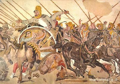 Megalografia esposta al museo archeologico di Napoli: ritrae la vittoria di Alessandro Magno contro Dario, ad Isso
