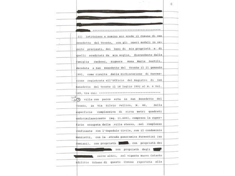 Una pagina del testamento di Pietro Paolo Rambelli