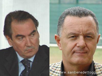 A sinistra il presidente del Grottammare Amedeo Pignotti, a destra il patron del Centobuchi Claudio Marocchi
