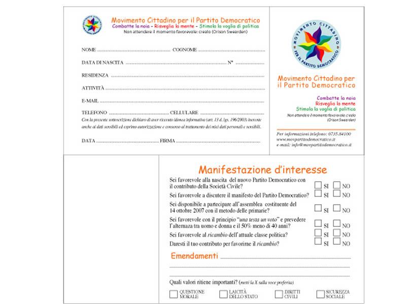 Le schede che verranno distribuite ai cittadini