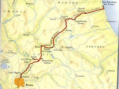 Il percorso della via Salaria