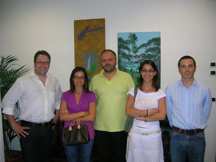 I quattro tecnici che collaboreranno con l'Ufficio Urbanistica insieme al sindaco Gaspari