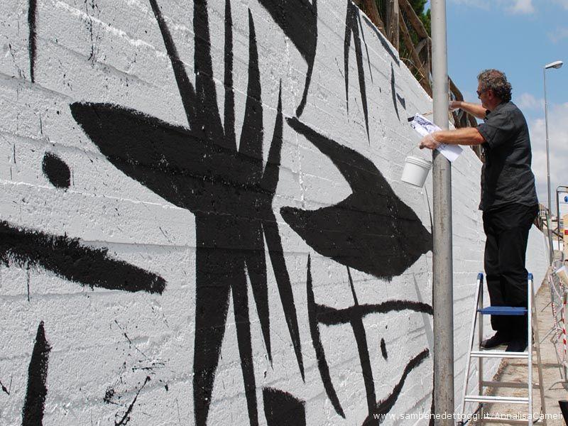 La quasi totalità del muro che verrà adornata dalle pennellate dell'artista grottammarese