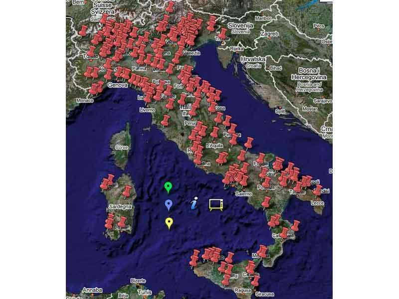 Le località italiane dove si terrà il V-Day