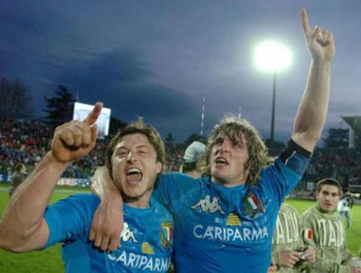 Marzo 2007: l'entusiasmo degli Azzurri dopo la vittoria (la seconda nel Sei Nazioni) sul Galles