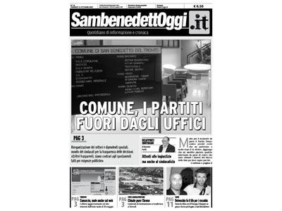 La copertina dell'edizione del 12 ottobre di Sambenedettoggi.it