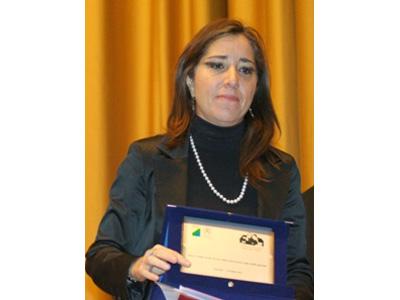 Clementina Forleo mentre ritira il Premio Paolo Borsellino