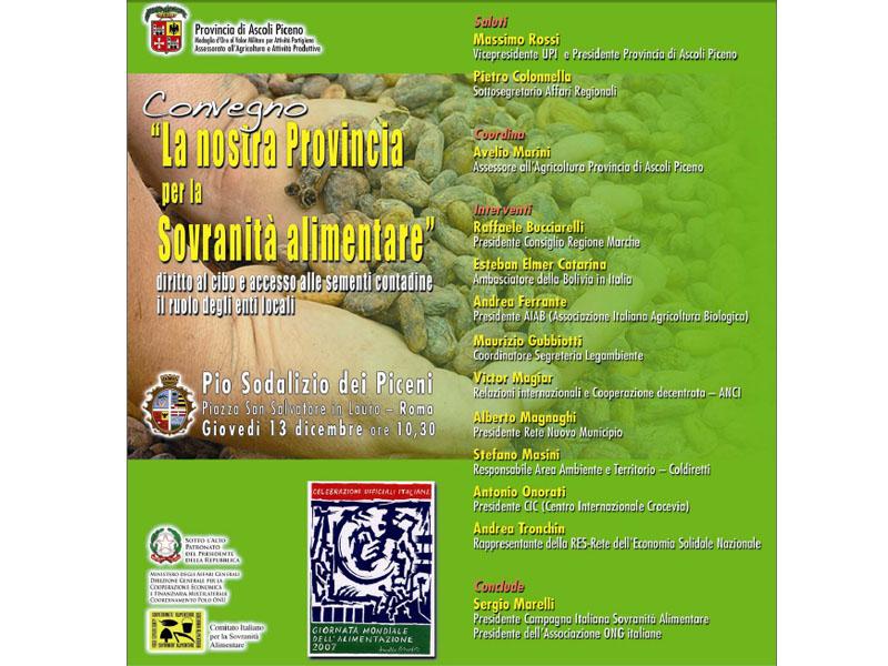 Il manifesto del Convegno per la Sovranità alimentare, il Piceno a Roma
