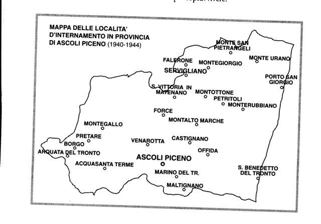 Alcuni campi di internamento nella provincia di Ascoli