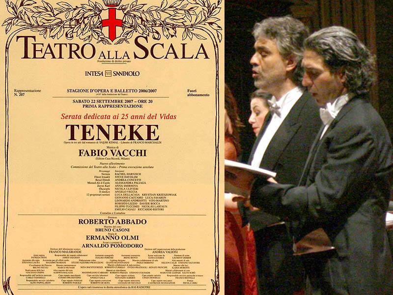 Grottammarese dell'anno 2007: Andrea Concetti canta con Bocelli - Locandina di Teneke al teatro della Scala