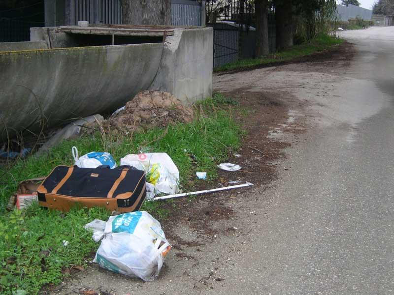 rifiuti gettati su una strada della zona residenziale