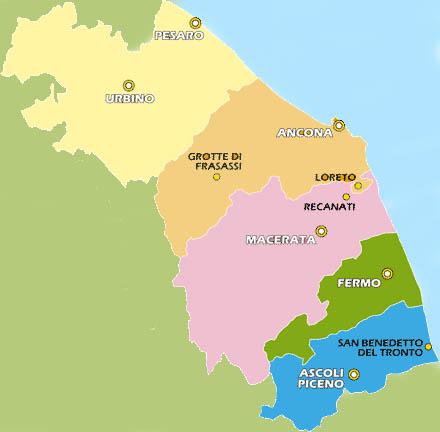 OPiantina delle Marche: le Provincie di Pesaro ed Urbino si sono unite, mentre quelle di Ascoli e Fermo divise