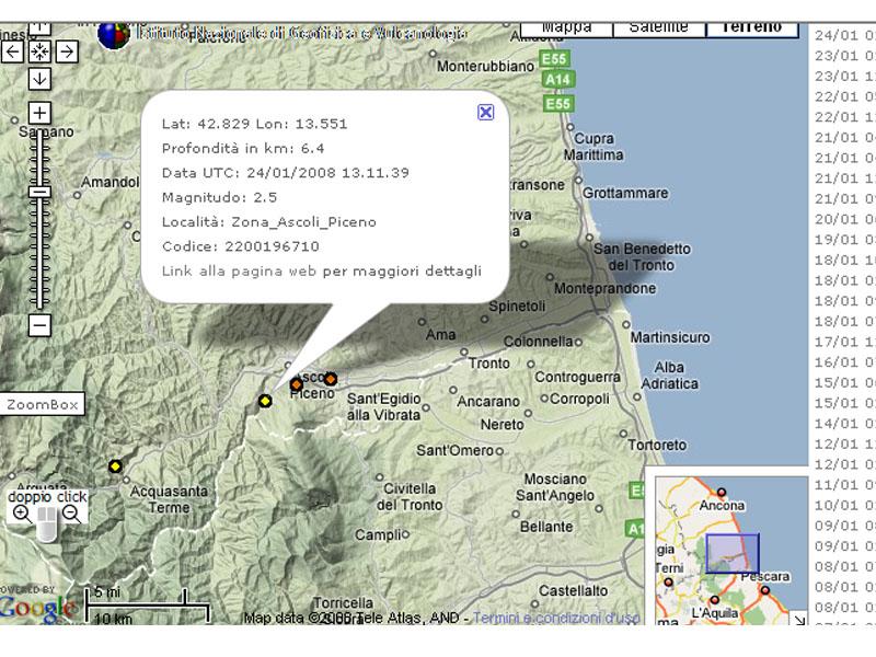 La zona di Ascoli Piceno e le ultime scosse di terremoto di questi giorni