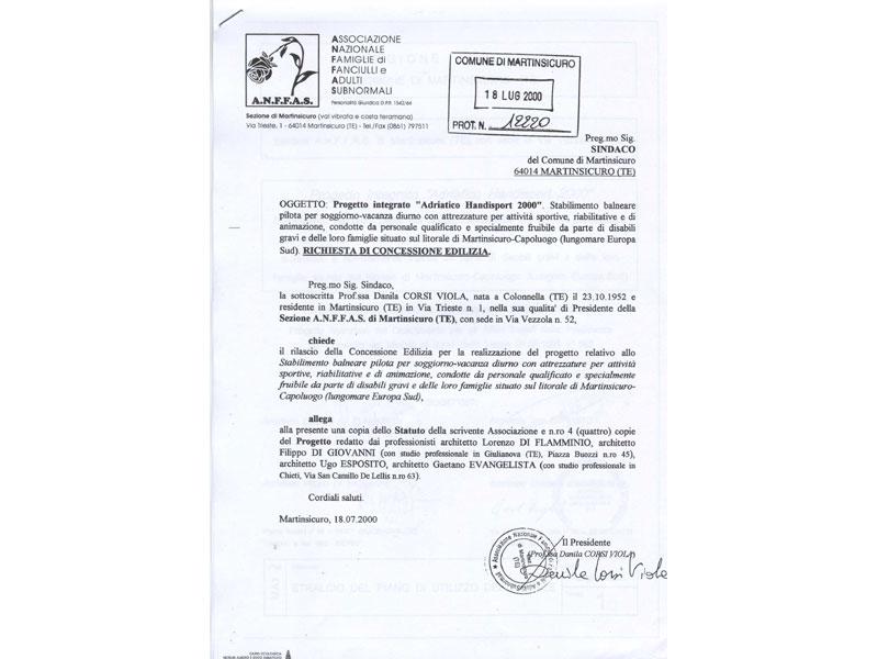 Il documento di presentazione del progetto e di richiesta per la realizzazione dello stabilimento, risalente al 18 luglio 2000