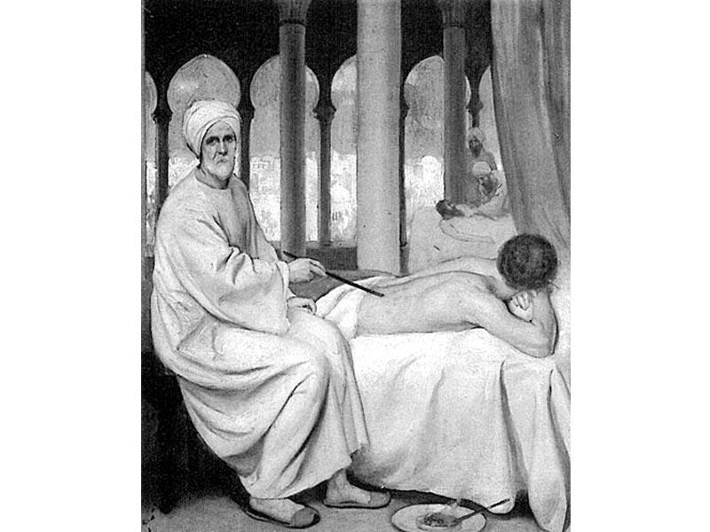 Albucasis, il medico chirurgo ispano-arabo che nell'anno mille circa portò grandi innovazioni nelle tecniche operatorie, in un dipinto di E. Board