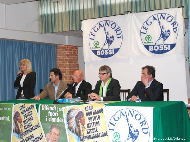 Da sinistra il candidato sindaco Maria Grazia Concetti, Pietro Infriccioli, Gabriele Fabi, Luca Rodolfo Paolini, Roberto Calderoli