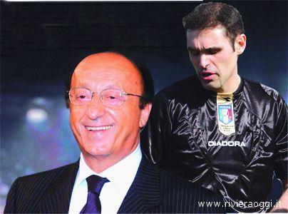 Luciano Moggi e l'arbitro Emanuel Tidona.... anche noi abbiamo lavorato con la fantasia (Fotomontaggio Longobardi)