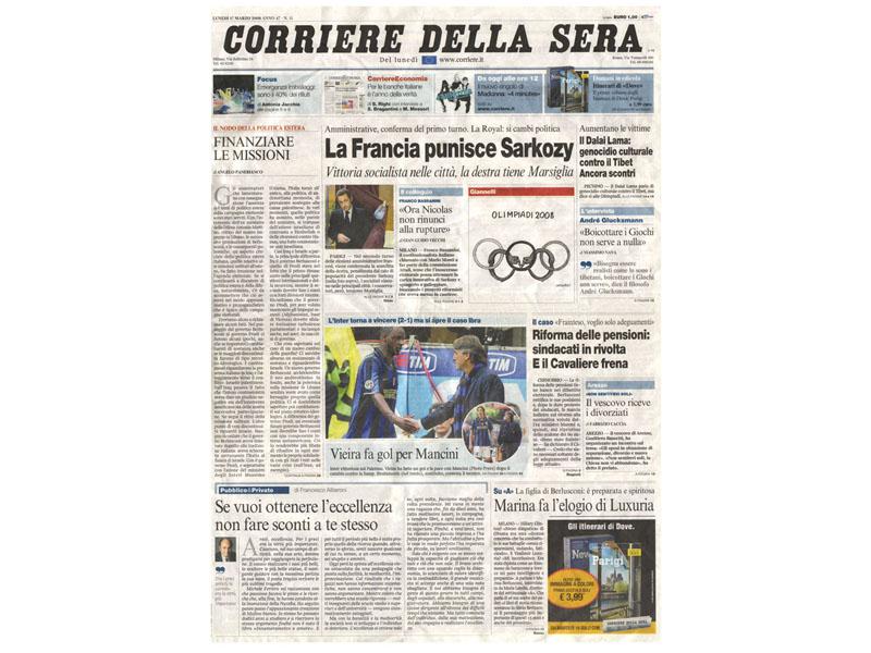 La copertina del Corriere della Sera di lunedì 17 marzo (da Beppegrillo.it)