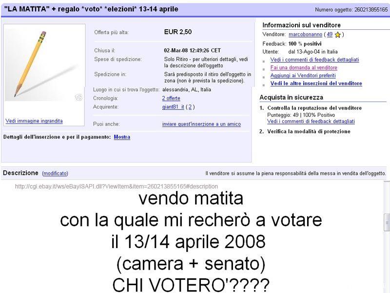 Un elettore sfiduciato vende il suo voto - anzi la matita con cui voterà... - su Ebay