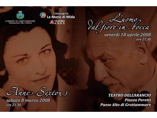 Locandina dei due appuntementi al Teatro dell'Arancio di Grottammare