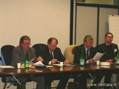 Da sinistra, Marco Vincenzo Giua, il senatore Massimo Baldini, Giuseppe Ricci, Andrea Ruffini
