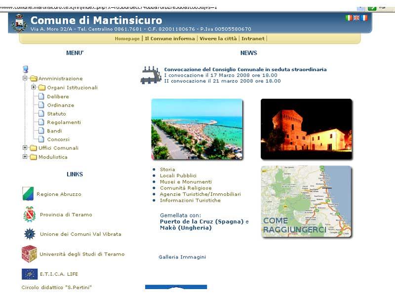 Sul sito internet del Comune di Martinsicuro i cittadini possono inviare messaggi e segnalazioni riguardanti la gestione della città