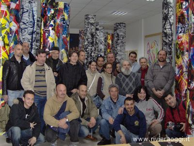 Il gruppo di archeologi cagliaritani assieme ad Andrea Mora e Vittorio Amadio
