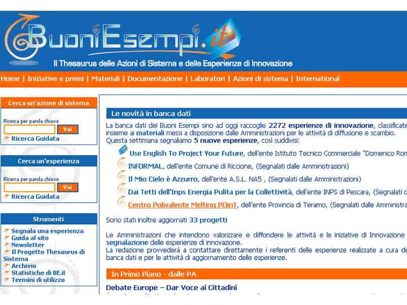 L'home page del sito www.buoniesempi.it