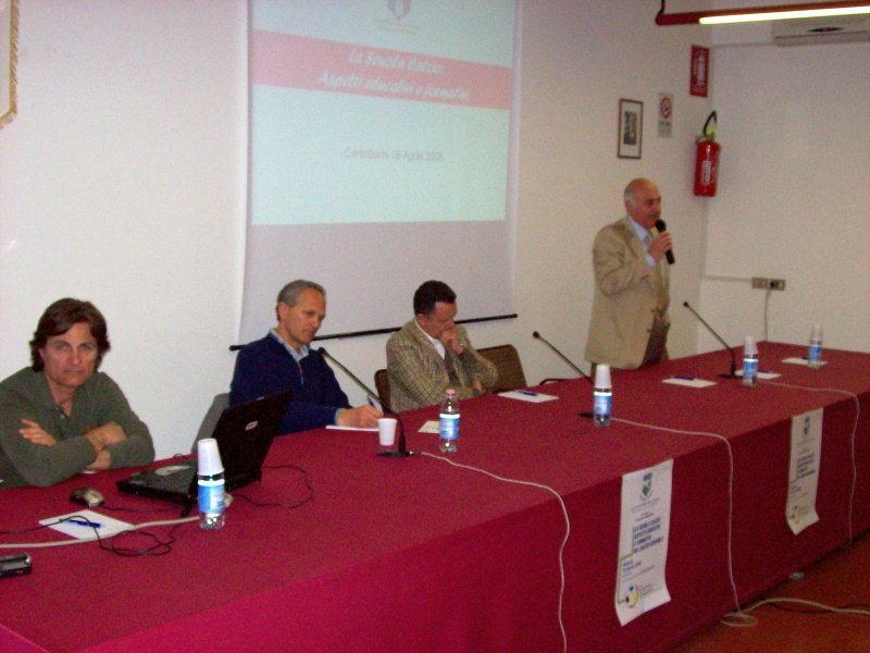 I partecipanti al dibattito. Da sinistra: Giuseppe Malaspina, Floriano Marziali, Claudio Marocchi, Aldo Sabatucci.