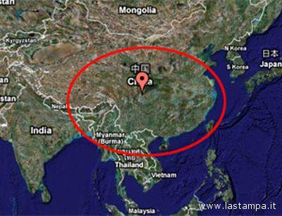 La zona della Cina colpita dal violentissimo terremoto