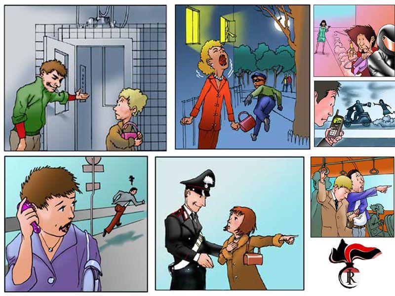 Alcune regole a fumetti per prevenire le aggressioni, dal sito dei Carabinieri