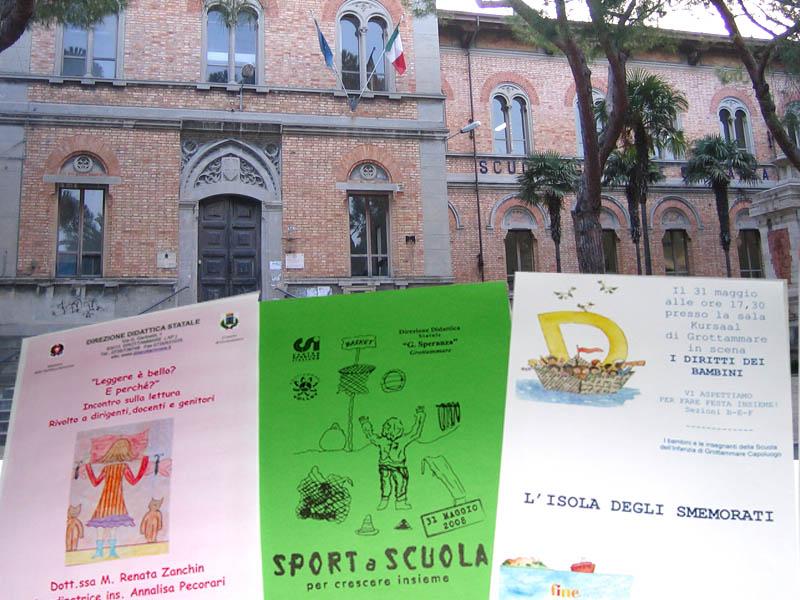 La scuola primaria Giuseppe Speranza, locandine degli eventi scolastici di fine anno