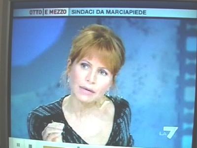 Lilli Gruber durante la puntata del 23 settembre di