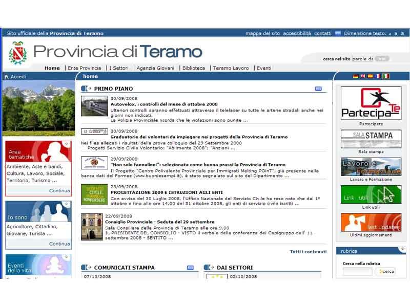 Il sito della Provincia di Teramo