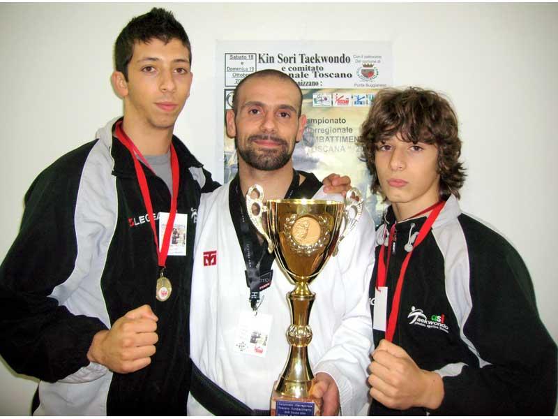 Luca Fillari, l'allenatore Michele Maloni e Francesco Fillari